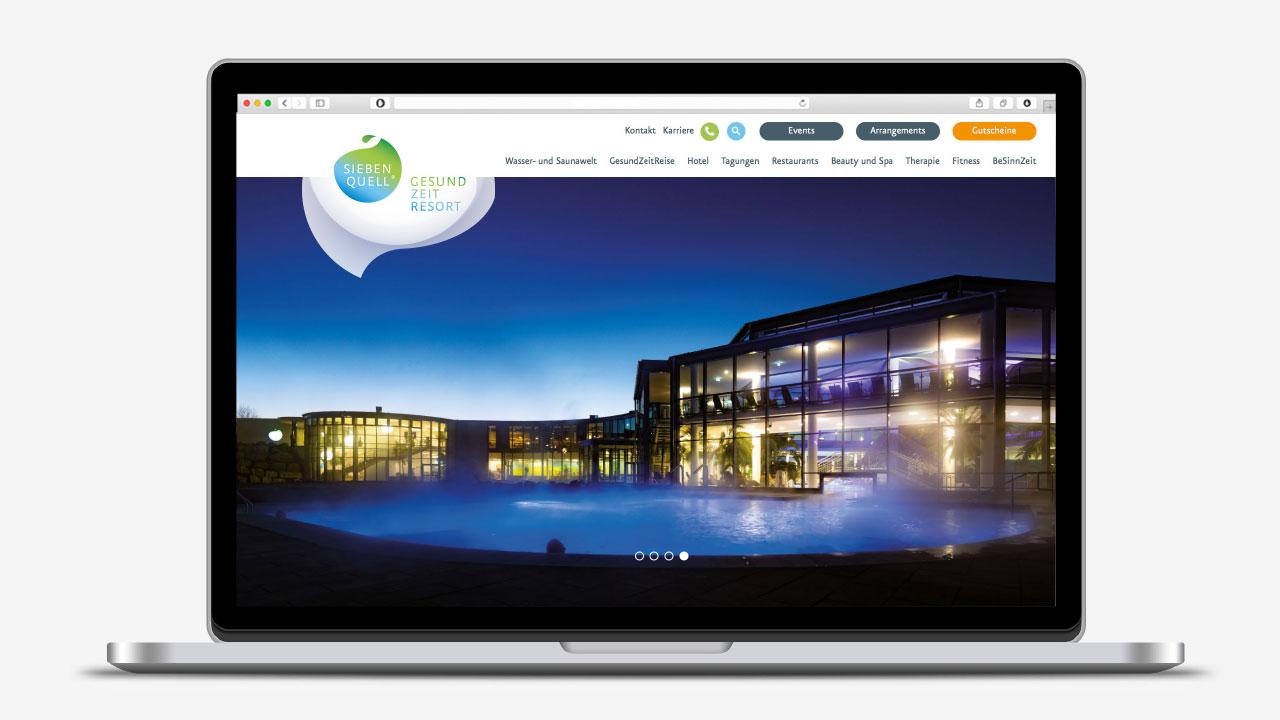 Siebenquell Markenbild online Siebenquell GesundZeitResort brand-building concept