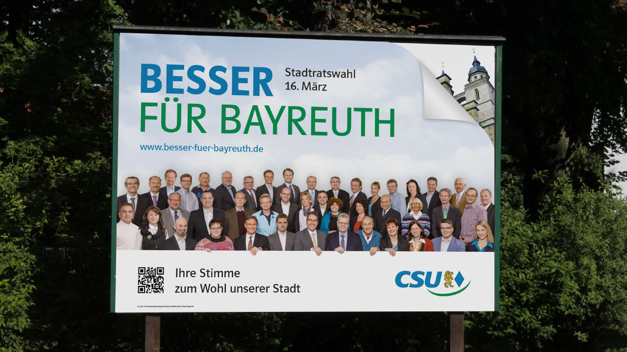 CSU Wahlkampfwerbung Großfläche CSU Oberfranken election campaign