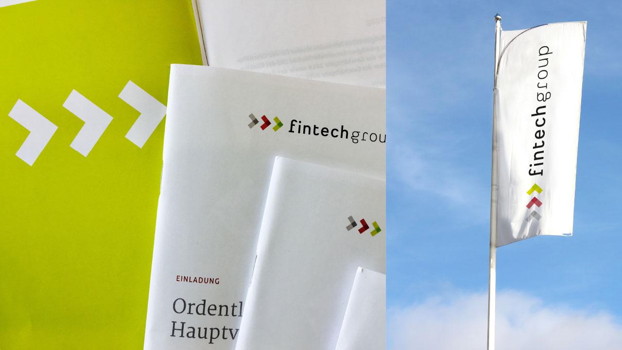 fintech Group Markenbild Einladung und Fahne fintechgroup AG Financial Services