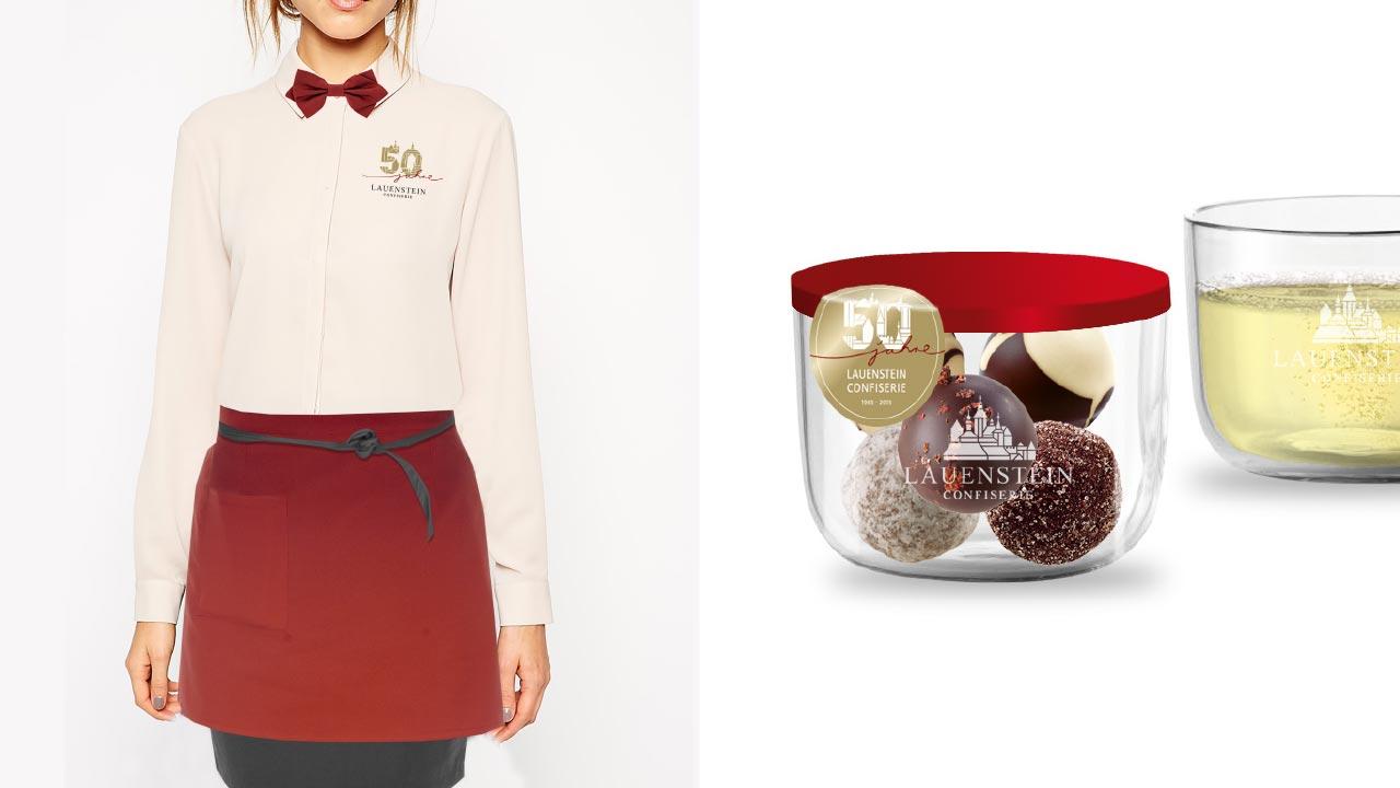 Confiserie Lauenstein Jubiläumskonzept Outfit Verpackung