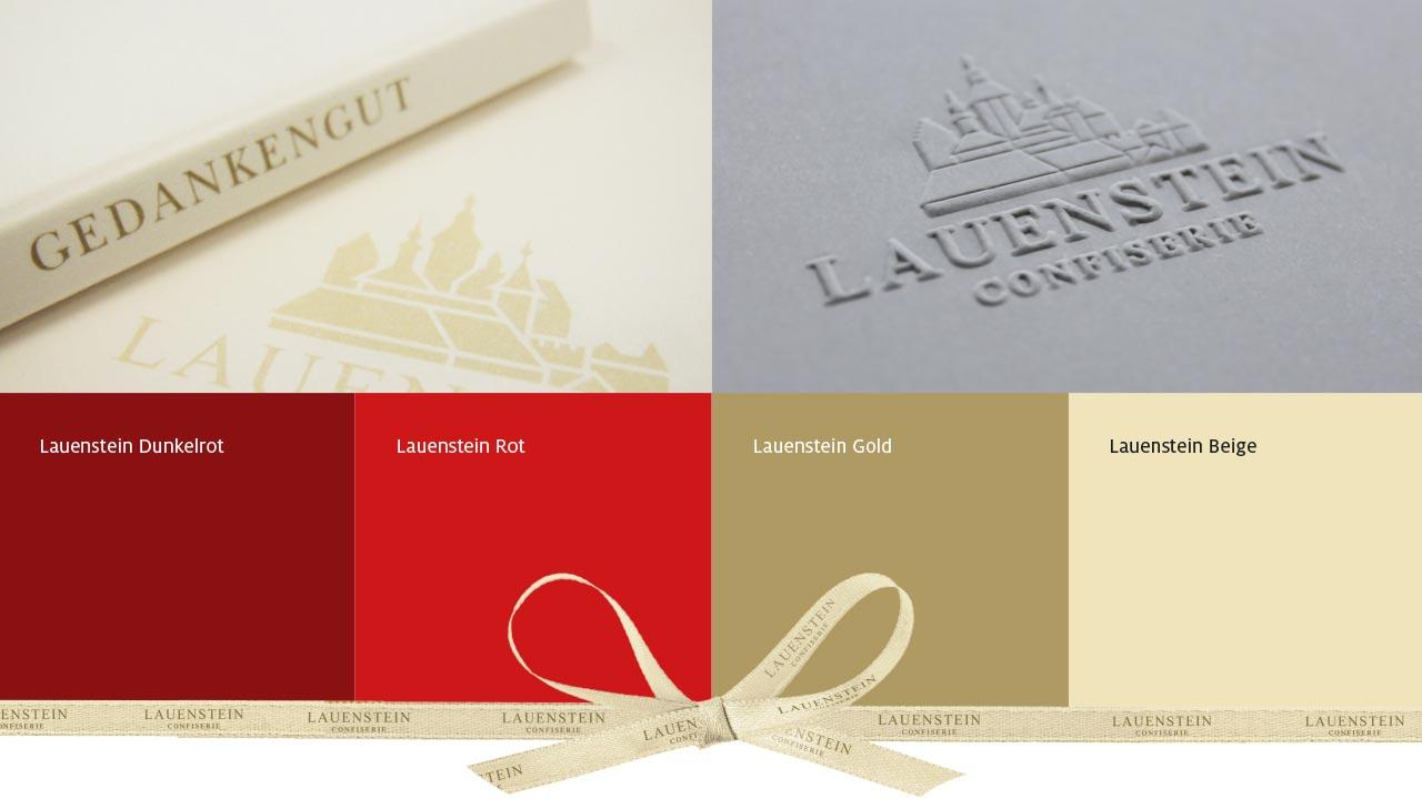 Confiserie Lauenstein Markenbild Farbschema
