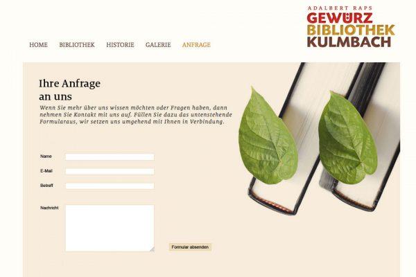Gewürzbibliothek online Anfrage