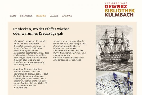 Gewürzbibliothek online Historie