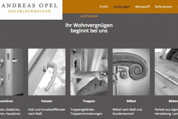Holzblockmacher Andreas Opel online Leistungen