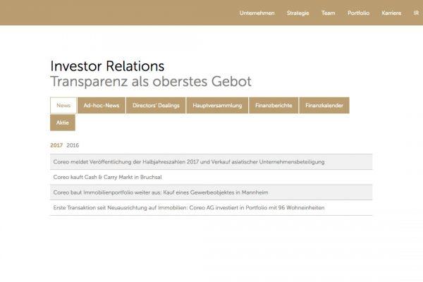 Coreo AG online News
