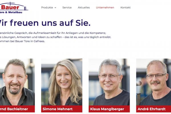 Bauer Tore und Metallbau online Unternehmen