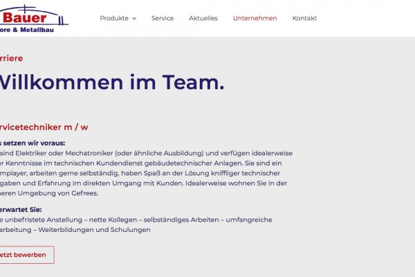 Bauer Tore und Metallbau online Karriere