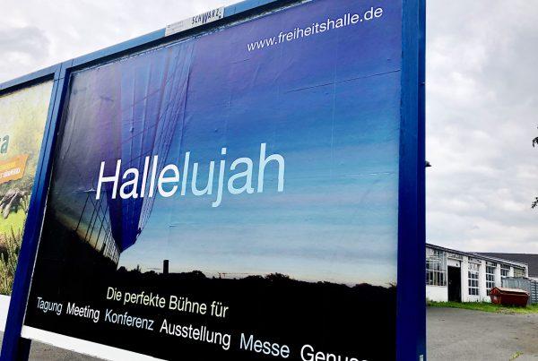 Freiheitshalle Plakat Hallelujah – welch ein Angebot Hallelujah – what an offer