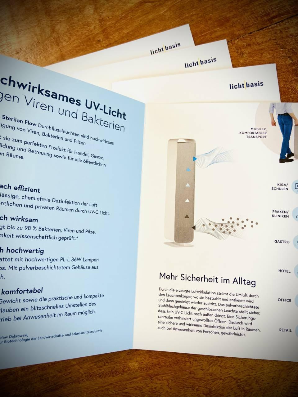 lichtbasis UVC-Sterilon A5 Folder Mit Licht gegen Bakterien